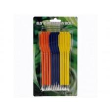 Двухперьевые стрелы для арбалет-пистолета (12 шт. - 3 цвета)